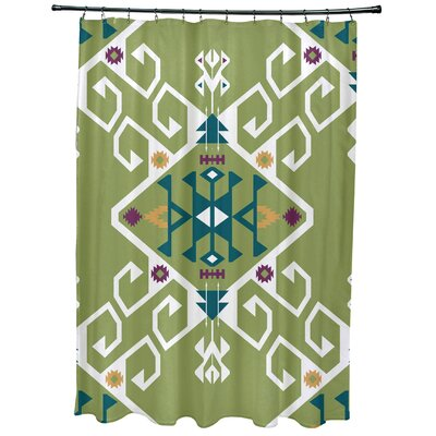 Meetinghouse Jodhpur Medallion Geometric Print Shower Curtain Color: Green