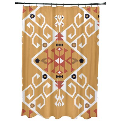 Oliver Jodhpur Medallion Geometric Print Shower Curtain Color: Gold