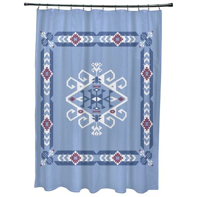 Oliver Jodhpur Border 3 Geometric Print Shower Curtain Color: Blue