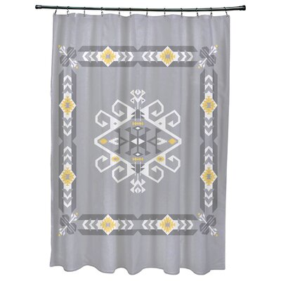 Oliver Jodhpur Border 3 Geometric Print Shower Curtain Color: Gray