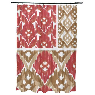 Meetinghouse Free Spirit Geometric Print Shower Curtain Color: Coral