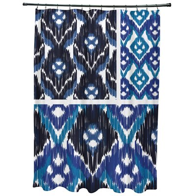 Oliver Free Spirit Geometric Print Shower Curtain Color: Navy Blue