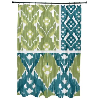 Oliver Free Spirit Geometric Print Shower Curtain Color: Teal