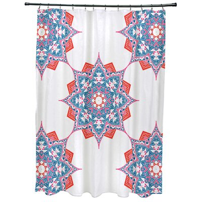 Oliver Rhapsody Geometric Print Shower Curtain Color: Light Blue
