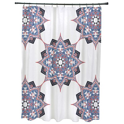 Oliver Rhapsody Geometric Print Shower Curtain Color: Dark Blue