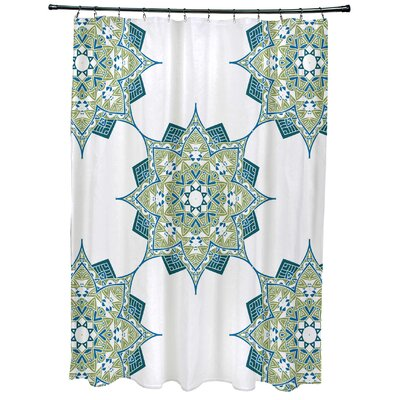 Meetinghouse Rhapsody Geometric Print Shower Curtain Color: Green