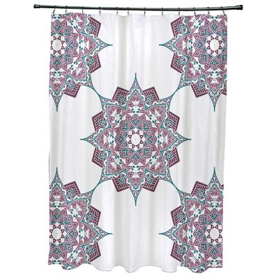 Oliver Rhapsody Geometric Print Shower Curtain Color: Purple