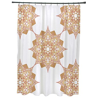 Oliver Rhapsody Geometric Print Shower Curtain Color: Gold