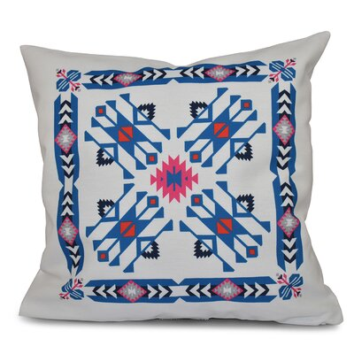 Oliver Jodhpur Border 4 Geometric Print Throw Pillow Color: Blue, Size: 26 H x 26 W