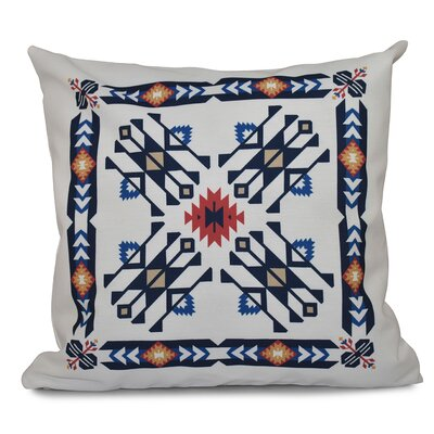 Oliver Jodhpur Border 4 Geometric Print Throw Pillow Size: 26 H x 26 W, Color: Navy Blue