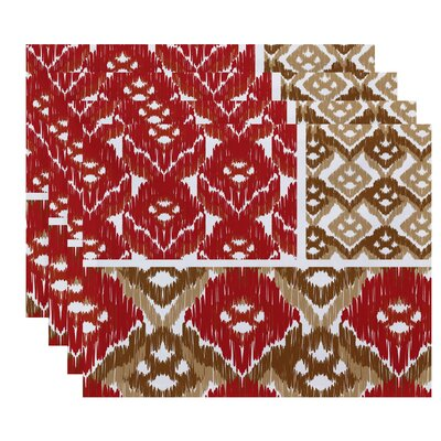 Oliver Free Spirit  Geometric Print Placemat Color: Coral
