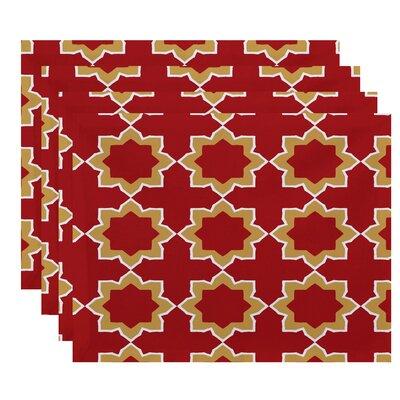 Oliver Bohemian 2 Geometric Print Placemat Color: Coral