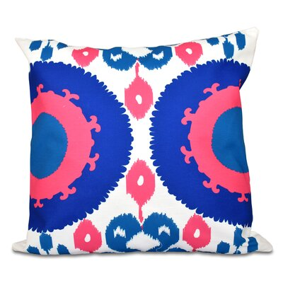 Oliver Boho Geometric Print Throw Pillow Size: 18 H x 18 W, Color: Blue