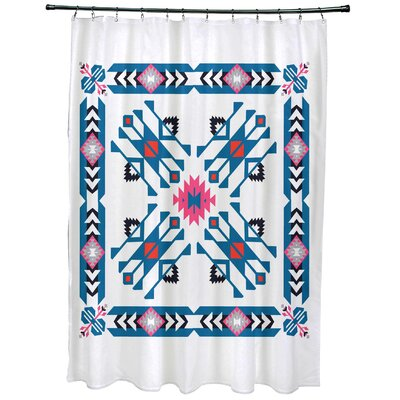 Oliver Jodhpur Border 4 Geometric Print Shower Curtain Color: Blue