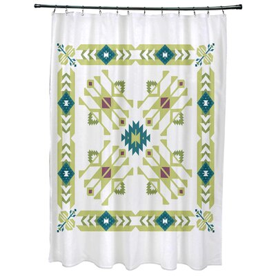 Meetinghouse Jodhpur Border 4 Geometric Print Shower Curtain Color: Green