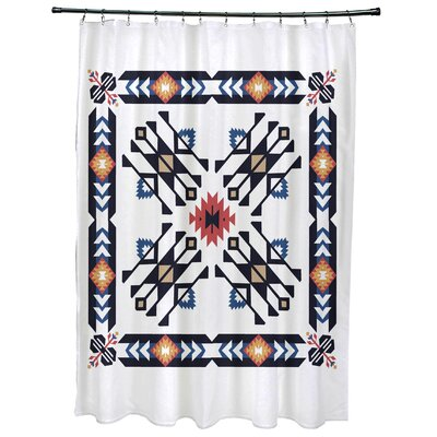 Meetinghouse Jodhpur Border 4 Geometric Print Shower Curtain Color: Navy Blue