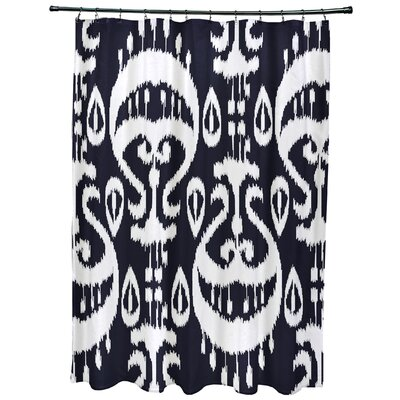 Meetinghouse Ikat Geometric Print Shower Curtain Color: Navy Blue