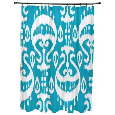 Meetinghouse Ikat Geometric Print Shower Curtain Color: Turquoise