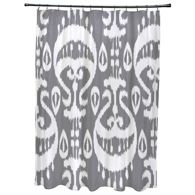 Oliver Ikat Geometric Print Shower Curtain Color: Gray