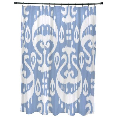 Oliver Ikat Geometric Print Shower Curtain Color: Blue