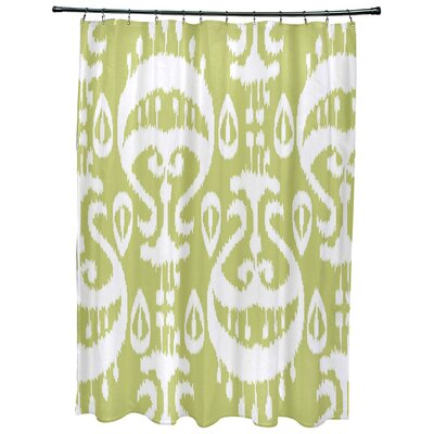 Meetinghouse Ikat Geometric Print Shower Curtain Color: Green