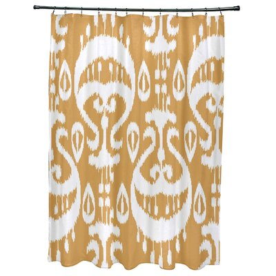 Meetinghouse Ikat Geometric Print Shower Curtain Color: Gold
