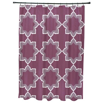 Oliver Bohemian Geometric Print Shower Curtain Color: Purple