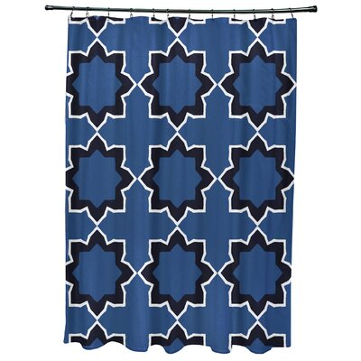 Oliver Bohemian Geometric Print Shower Curtain Color: Blue