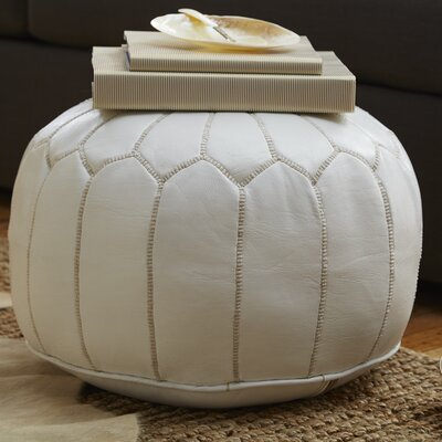 Carolos Pouf Leather Ottoman Upholstery: White