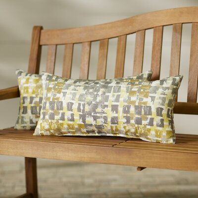 Momea Outdoor Lumbar Pillow Size: 12x24, Color: Gold/Grey