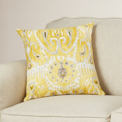 Clara Ikat Cotton Throw Pillow Color: Lemon, Size: 18 H x 18 W