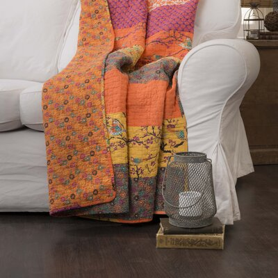 Somerton Cotton Throw Blanket Color: Tangerine