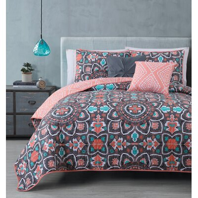 Charee 5 Piece Reversible Quilt Set Size: King, Color: Coral