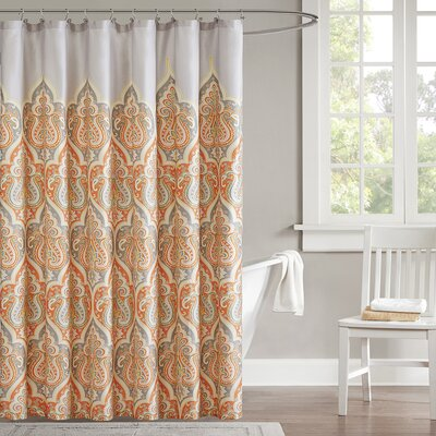 Christena Cotton Shower Curtain Color: Orange