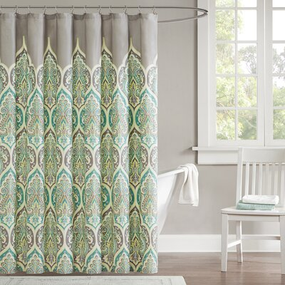 Christena Cotton Shower Curtain Color: Teal