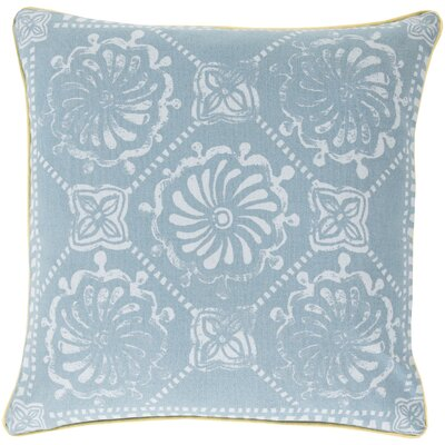 Ouezzane 100% Cotton Throw Pillow Size: 20 H x 20 W x 5 D, Color: Sky Blue/Teal, Filler: Down