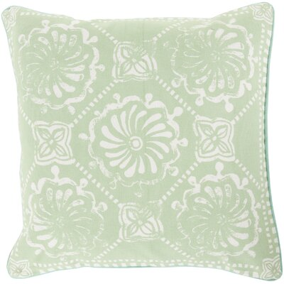 Ouezzane 100% Cotton Throw Pillow Size: 18 H x 18 W x 4 D, Color: Mint/Ivory, Filler: Down