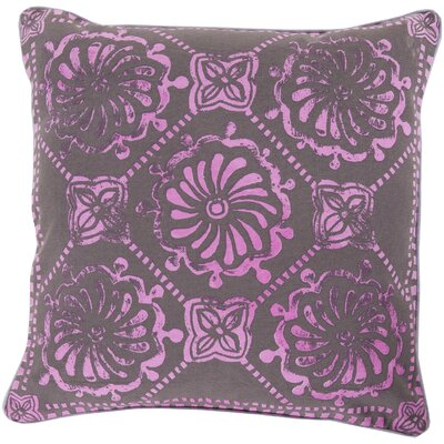Ouezzane 100% Cotton Throw Pillow Size: 18 H x 18 W x 4 D, Color: Lavender/Chocolate, Filler: Down