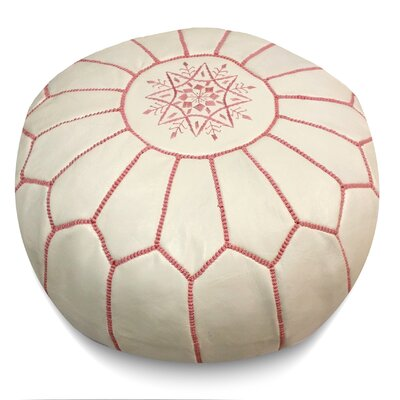 Carolos Pouf Leather Ottoman Upholstery: White/Pink