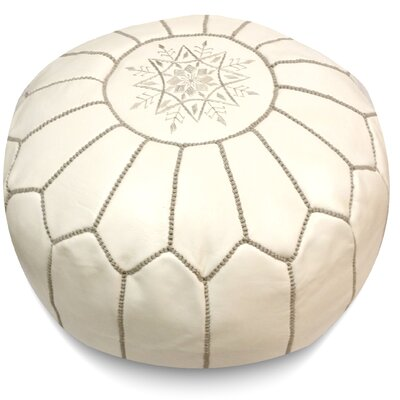 Mouassine Pouf Leather Ottoman Upholstery: White/Grey