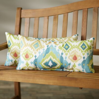 Camille Indoor/Outdoor Lumbar Pillow Size: 12x24, Color: Blue/Green