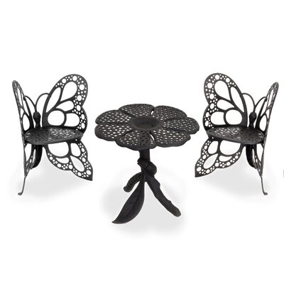 Butterfly 3 Piece Bistro Set Finish: Black