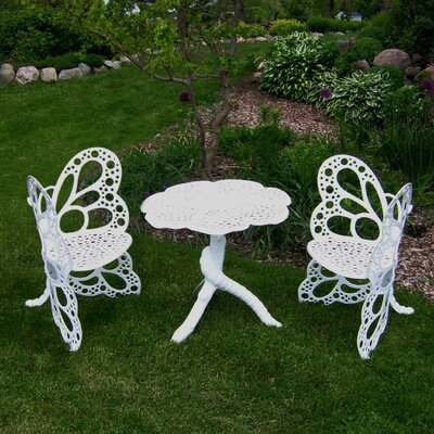 Butterfly 3 Piece Bistro Set Finish: White