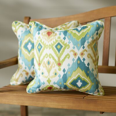 Camille Square Indoor/Outdoor Throw Pillow Size: 18 H x 18 W, Color: Blue / Green