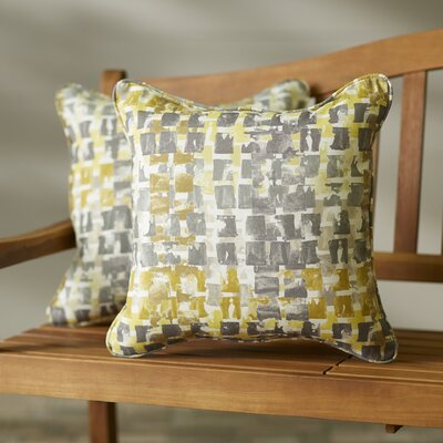 Clare Indoor/Outdoor Throw Pillow Size: 18 H x 18 W, Color: Gold / Grey