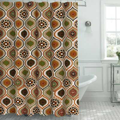 Zemamra Fabric Weave Textured Shower Curtain Set Color: Rust