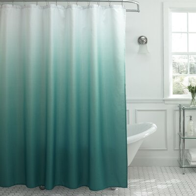 Charlesworth Waffle Fabric Weave Shower Curtain Color: Marine Blue