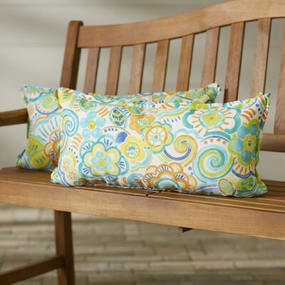 State Line Indoor/Outdoor Lumbar Pillow Size: 12 H x 24 W, Color: Blue Multi