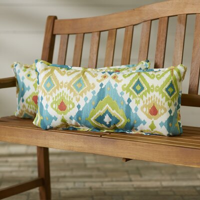 Camille Flange Seam Indoor/Outdoor Lumbar Pillow Size: 12 x 24, Color: Blue / Green