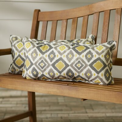 Socoma Outdoor Lumbar Pillow Size: 12 x 24, Color: Grey / Gold